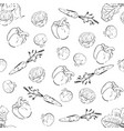 hand drawn vegetables pattern seamless background vector image vector image