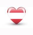 Heart-shaped icon with national flag of Austria vector image vector image