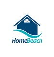 home beach house icon with blue wave logo concept vector image