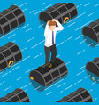isometric businessman standing on oil barrel in vector image vector image