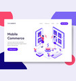 landing page template mobile commerce concept vector image vector image