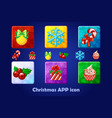 merry christmas and new year square app icons set vector image vector image