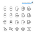 mobile phone line icons editable stroke vector image