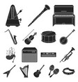 musical instrument black icons in set collection vector image vector image