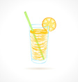 Orange cocktail with tubule and orange slice Ink vector image