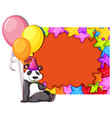 panda on birthday card template vector image vector image