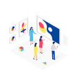 people in art gallery isometric concept vector image