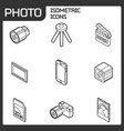 photo outline isometric icons vector image vector image