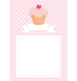 Pink card with white polka dots and sweet cupcake vector image vector image