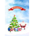 santa near christmas tree with merry christmas vector image vector image