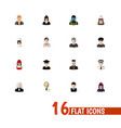 set of 16 editable profession icons flat style vector image