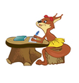 squirrel sits at a school desk vector image vector image