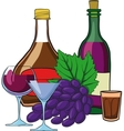 still life with bottles wine vector image vector image