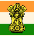 the flag and the emblem of india vector image