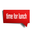 time for lunch red 3d speech bubble vector image vector image