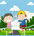 two boys running in race vector image vector image