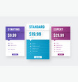 web price tables template with an arrow and vector image