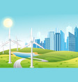 wind power plant turbines green energy vector image vector image
