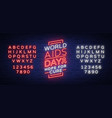world aids day december 1 banner neon-style vector image