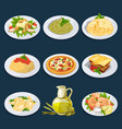 different food from italian cuisine pasta pizza vector image