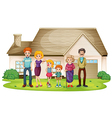 A family outside their big house vector image