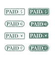 A set of stamps is paid vector image vector image