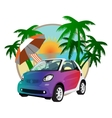 beach car in the summer on a background of sunset vector image vector image
