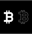 bitcoin icon set white color flat style simple vector image