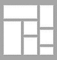 blank white postage stamps collection sticky vector image