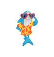 blue shark in hawaiian shirt and sunglasses vector image vector image