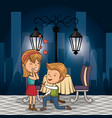 bridal couple having dinner on the street at night vector image