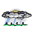 cartoon image of rain icon rainfall symbol vector image