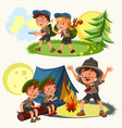 cartoon scouting children mentor guides outdoor vector image