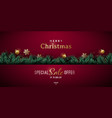christmas banner design with green realistic pine vector image vector image