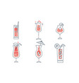 cocktails collection alcoholic and refreshing vector image vector image