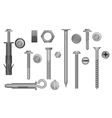 Construction Hardware set Bolts Screws Nuts and vector image vector image