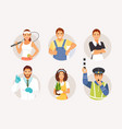 different professions and occupations vector image vector image