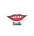 doodle with lips and inscription vector image
