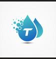 droplet design with letter t symbol design vector image vector image