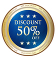 Fifty Percent Discount Blue Label vector image vector image