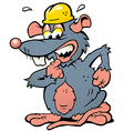 Hand-drawn of an scared Rat with yellow Helmet vector image vector image