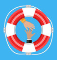 hand with lifebuoy support and assistance concept vector image vector image