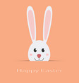 happy easter card white rabbit with text isolated vector image