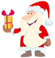 happy santa claus cartoon character with present vector image vector image