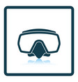icon of scuba mask on gray background round shadow vector image vector image