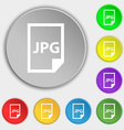 Jpg file icon sign Symbol on eight flat buttons vector image