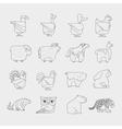 Line design animals icon set Zoo children vector image
