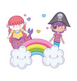 little pirate with mermaid in clouds vector image vector image