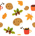lovely seamless pattern with mug of coffee cookies vector image vector image