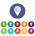map pointer with gas station symbol icons set vector image vector image